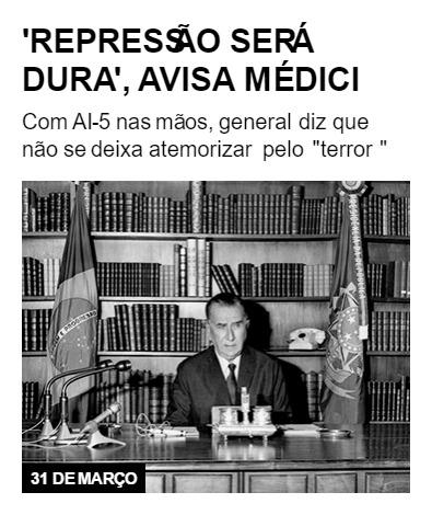 'Repressão será dura', avisa Médici