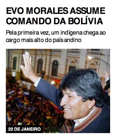 Evo Morales assume comando da Bolívia
