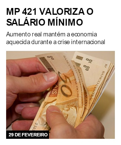 MP 421 valoriza o salário mínimo