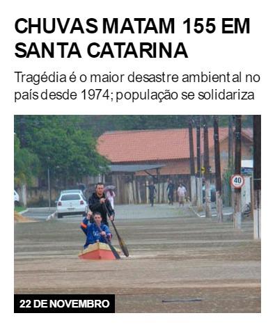 Chuvas matam 155 em Santa Catarina