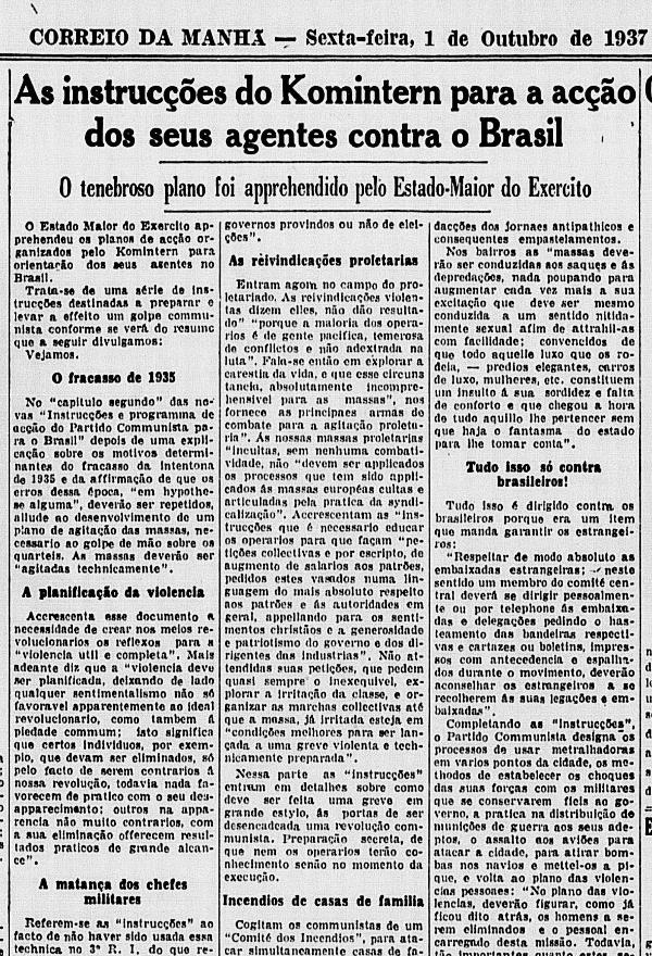 """O """"Correio da Manhã"""" noticia o Plano Cohen, em sua edição de 1º de outubro de 1937"""