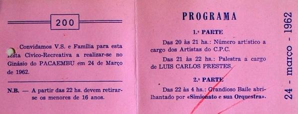 """Convite para """"festa cívico-recreativa"""" com participação de artistas do CPC e palestra de Luís Carlos Prestes"""
