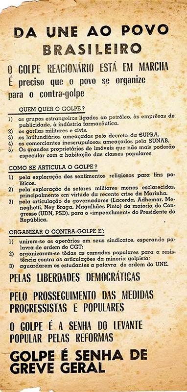 Texto da União Nacional dos Estudantes convoca greve geral e resistência ao golpe