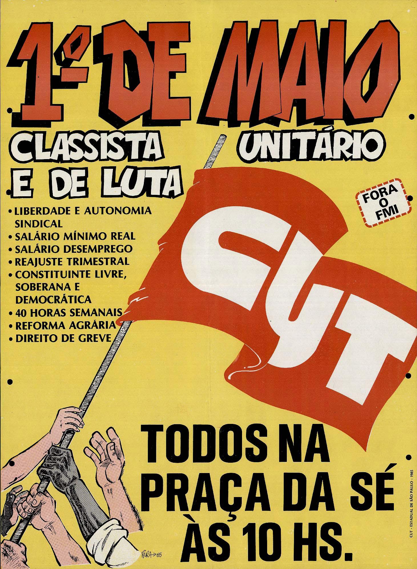 Cartaz de divulgação do ato de 1° de Maio com a pauta nacional de reivindicações