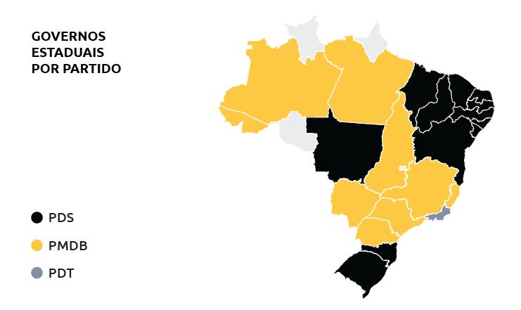 Mapa dos governadores eleitos por partido. Não houve eleição para os três territórios nacionais (Amapá, Rondônia e Roraima) e para o Distrito Federal