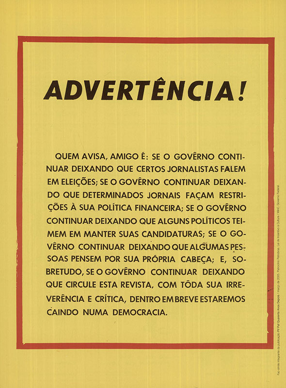 """A provocação de Millôr Fernandes na quarta capa da """"Pif-Paf"""" nº 8, de 28 de agosto de 1964, foi a gota d'água para o fechamento da revista"""