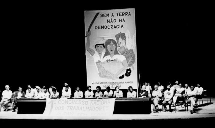 <strong> Plenário do 1º Congresso Nacional do MST, </strong> que definiu a ocupação de latifúndios como forma de luta e de exercício do direito à terra