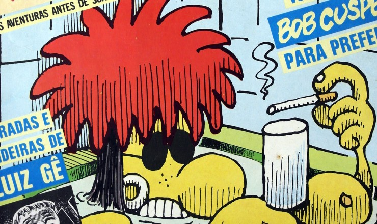 """<strong> Capa da edição n° 1 </strong> da """"Chiclete com Banana"""", revista dirigida pelo cartunista Angeli, que teve 24 números"""
