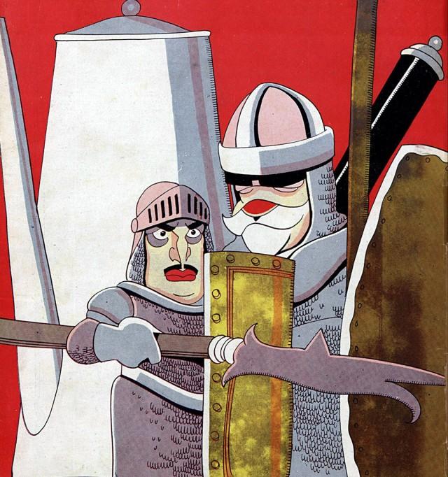 """Washington Luís e Júlio Prestes como guerreiros medievais defendendo um bule: o café como causa. Chargepublicada no jornal """"O Malho"""", 9 de novembro de 1929"""