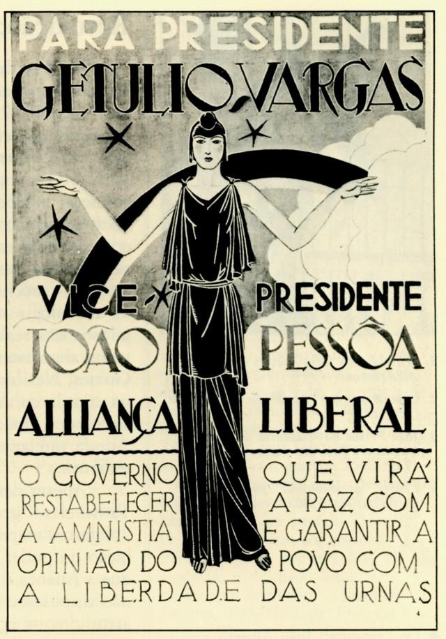 Cartaz da campanha  da chapaGetúlio Vargas-João Pessoa à Presidência