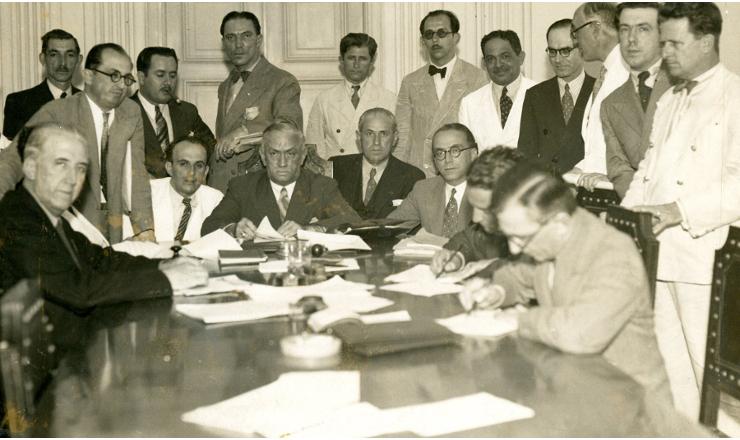 <strong> ComissãoEspecial de Repressãoao Comunismo </strong> durante reunião, em dezembro de 1935