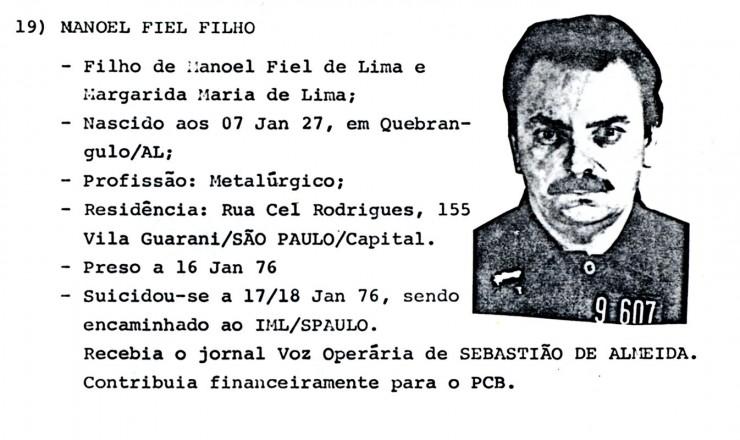 <strong> Documento do prontu&aacute;rio</strong> de Manoel Fiel Filho no Departamento de Ordem Pol&iacute;tica e Social (Dops)
