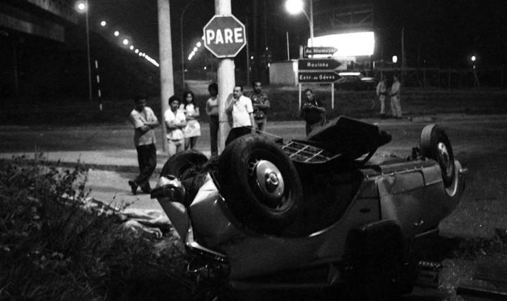 <strong> Autom&oacute;vel de Zuzu </strong> acidentado na sa&iacute;da do t&uacute;nel Dois Irm&atilde;os, na autoestrada Lagoa-Barra, Rio de Janeiro