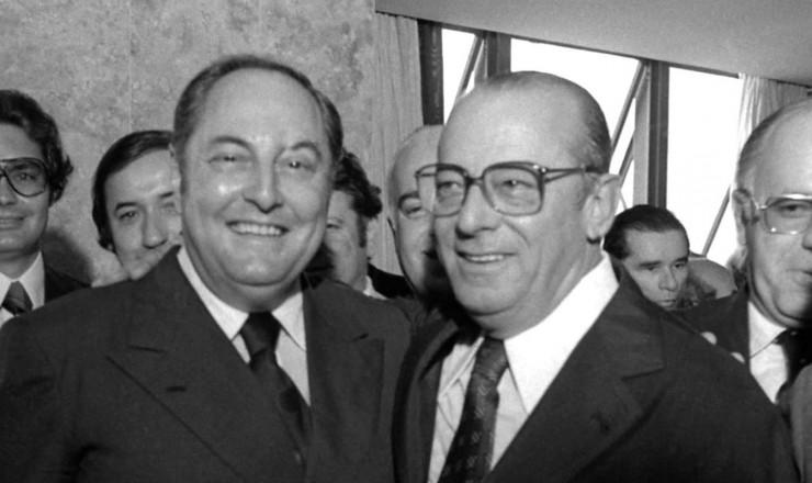 <strong> Aureliano Chaves e Figueiredo,</strong> eleitos vice e presidente da Rep&uacute;blica pela Arena