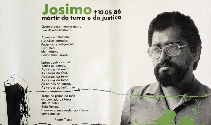 <strong> Cartaz da CPT </strong> em homenagem a padre Josimo, assassinado a mando de proprietário de terras em Imperatriz (MA)