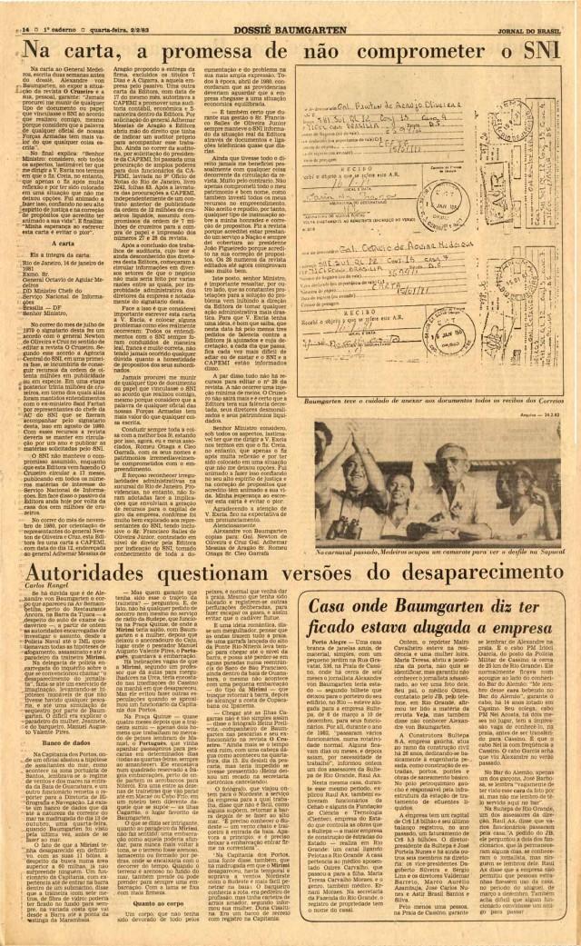 """O """"Jornal do Brasil"""" publica íntegra da carta de Alexandre von Baumgarten ao chefe do SNI, Octávio Medeiros, na qualcobra pagamentos à revista """"O Cruzeiro"""""""