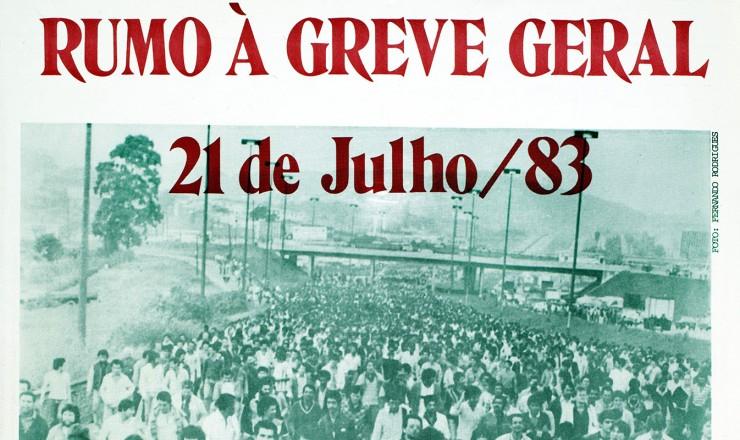 <strong> Cartaz do Sindicato dos Banc&aacute;rios</strong> de S&atilde;o Paulo chamando &agrave; greve geral