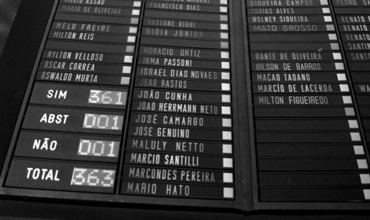 <strong> Placar do Congresso Nacional, </strong> com os votos dados ao texto do Emendão, aprovado porquase unanimidade