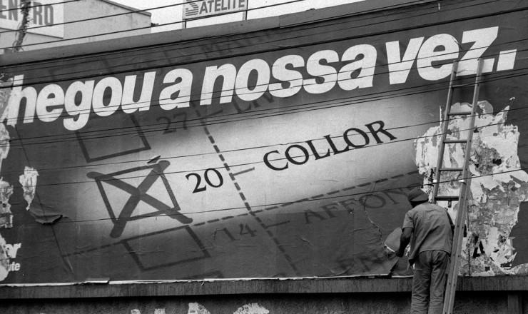 <strong> Outdoor de Fernando Collor,</strong> candidato pelo recém-fundado PRN à Presidência da República