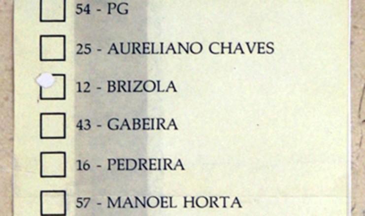 <strong> Cédula eleitoral </strong> com os nomes dos 22 candidatos à Presidência da República na eleição de 1989