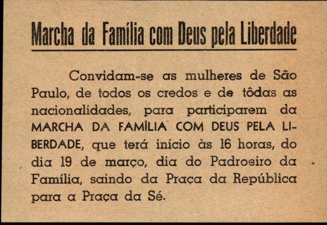 Convitepublicado nos principais jornais de São Paulo em março de 1964