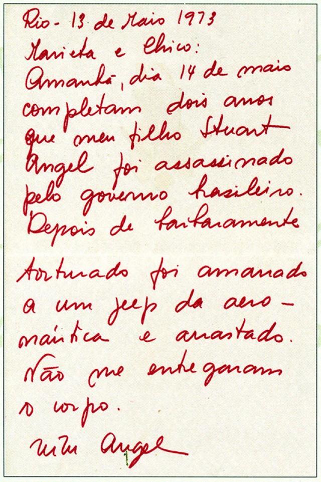 Zuzu escreve a Chico Buarque e Marieta Severo em sua campanha de denúncia contra os militares