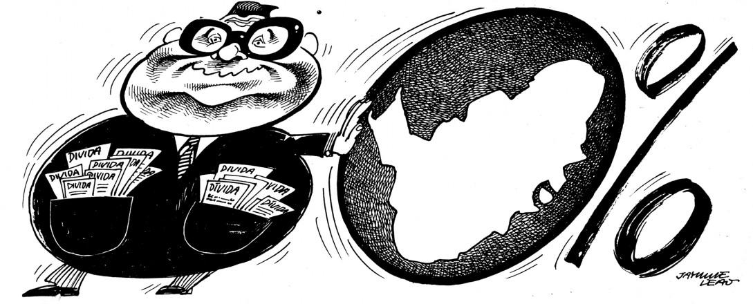 <strong> Charge de Jayme Leão</strong> publicada no jornal &quot;Movimento&quot;