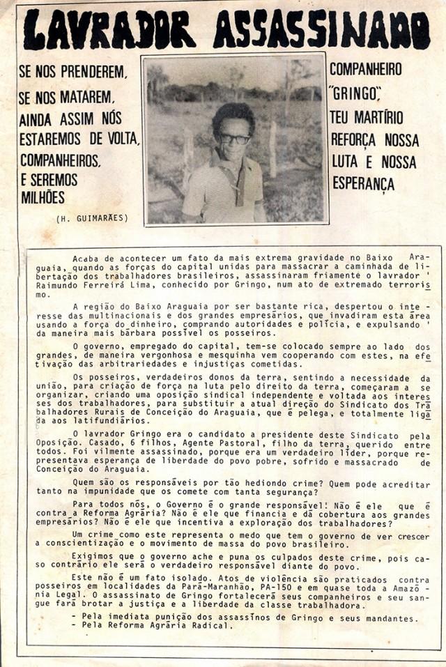 Panfleto denuncia a morte de Gringo