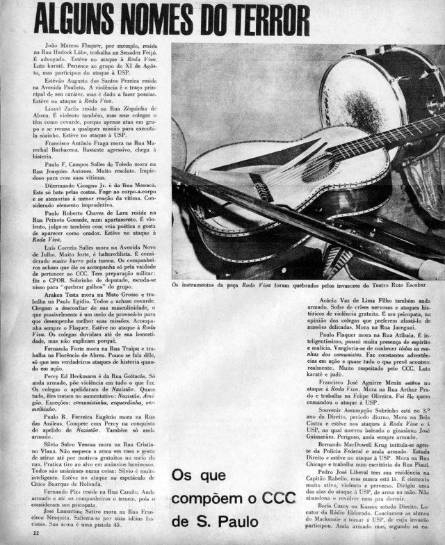 A revista O Cruzeiro  de novembro de 1968 traz reportagem sobre o Comando de Caça aos Comunistas