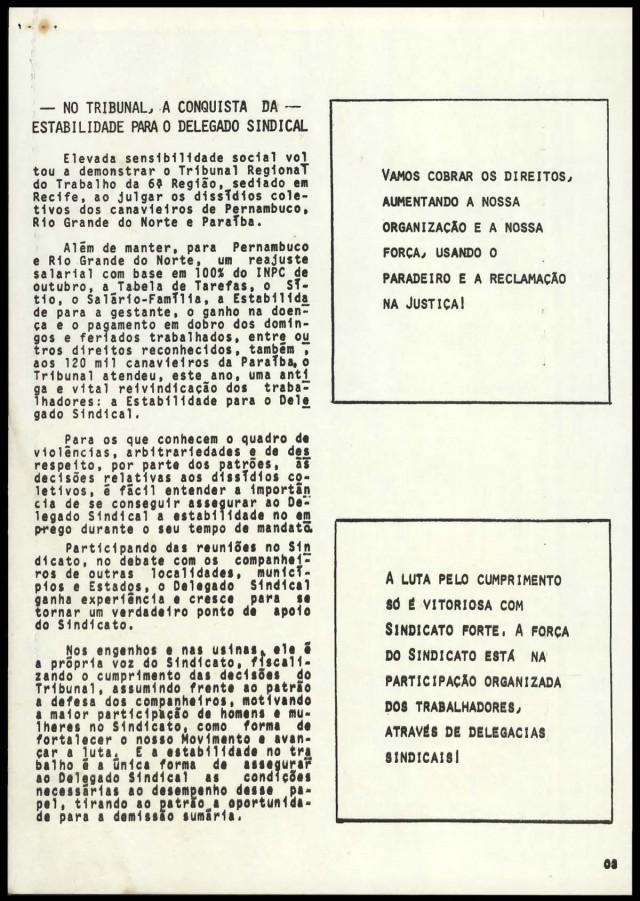 """Edição de """"O Trabalhador Rural"""", publicação da Contag, do bimestre setembro/outubro de 1984"""