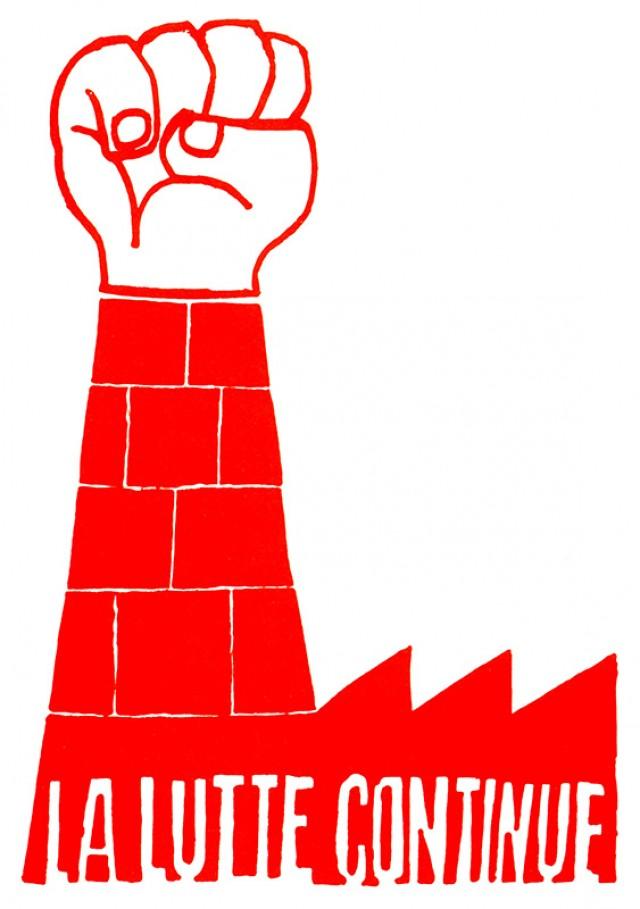 """Cartaz  produzido pela Escola Nacional de Belas Artestraz o lema """"A luta continua"""", alusivo à ocupação das fábricas"""