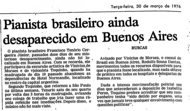 """""""Folha de S.Paulo"""" acompanha o desaparecimento de Tenorinho na edição de 30 de março de 1976"""