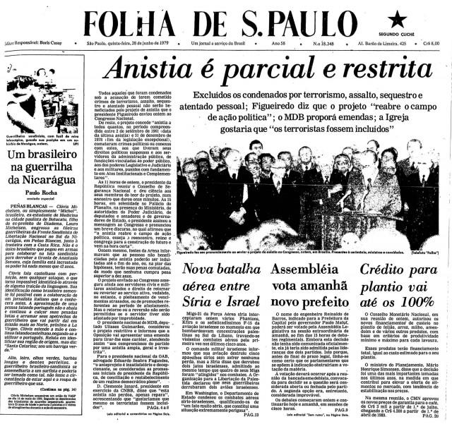 """Manchete da """"Folha de S.Paulo"""" anuncia o projeto de lei do Executivo e relata as repercussões negativas"""