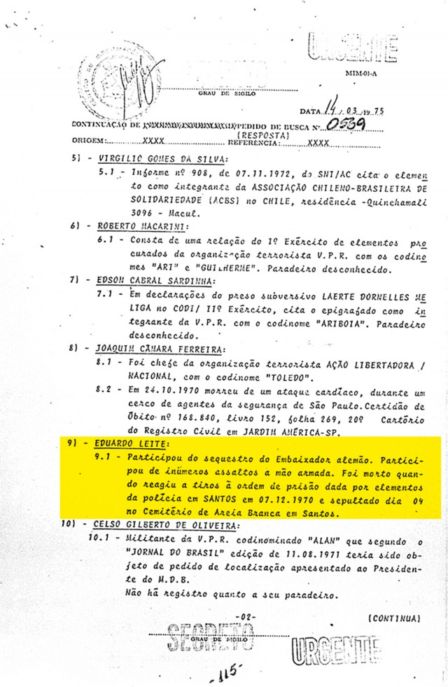 Em documento secreto dos militares, a morte de Bacuri é relatada como consequência de resistência à prisão