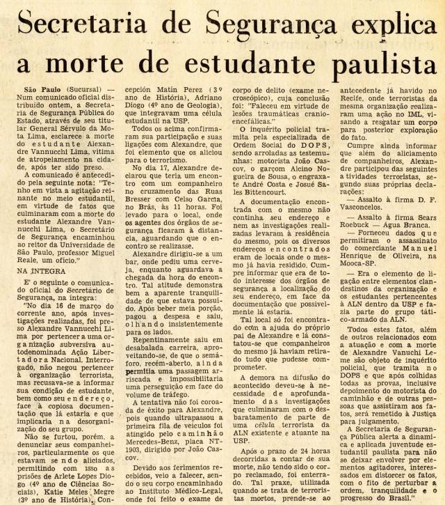 Jornal do Brasil  publica reportagem que traz a versão oficial do regime para a morte do estudante