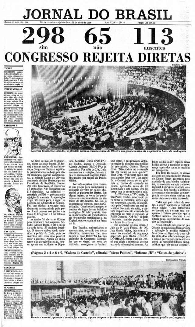 """Manchete do """"Jornal do Brasil"""" de26 de abril de 1984"""