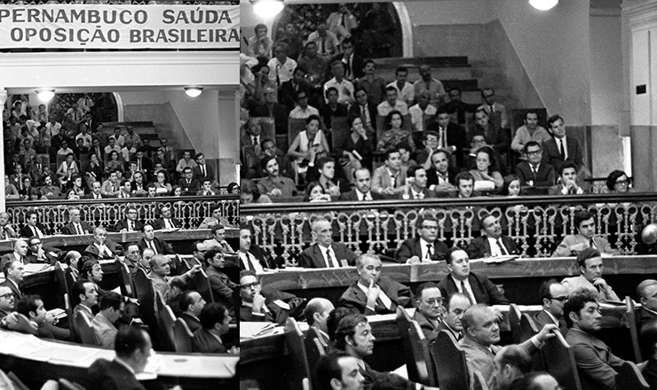 <strong> Reuni&atilde;o do MDB </strong> em que foi elaborada a Carta de Recife em defesa da anistia&nbsp;