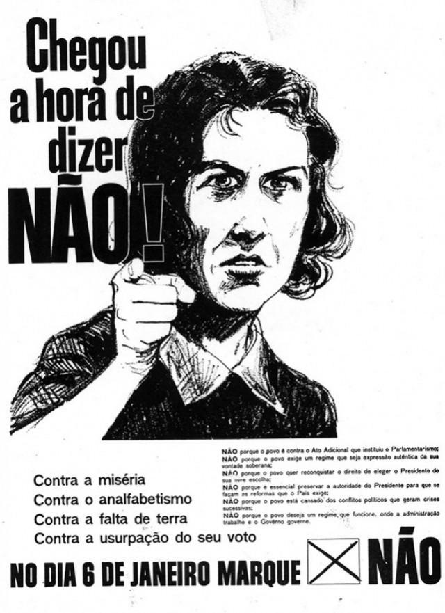 Cartaz da campanha contra o parlamentarismo no plebiscito de 1963