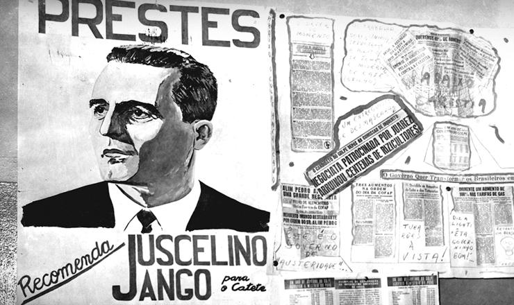 <strong> Cartaz de propaganda eleitoral</strong> em que o comunista Lu&iacute;s Carlos Prestes recomenda o voto na chapa JK-Jango n as elei&ccedil;&otilde;es de 1955
