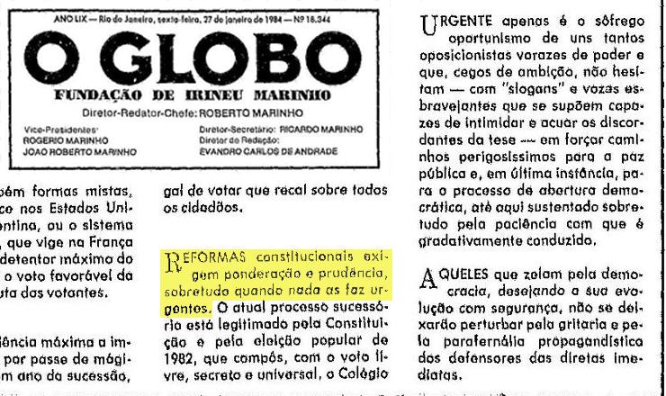 <strong> Em editorial na primeira p&aacute;gina,</strong> &nbsp;o jornal &quot;O Globo&quot;<strong> </strong> critica o com&iacute;cio pelas Diretas-J&aacute; na pra&ccedil;a da S&eacute;