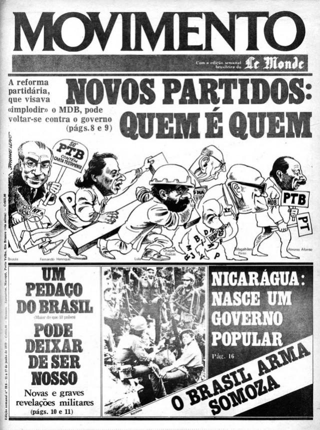 """O jornal alternativo """"Movimento"""" faz uma análise da reforma partidária de 1979 que extinguiu o MDB e a Arena e permitiu o aparecimento de novos partidos; a estratégia do governo era o de pulverizar a oposição"""