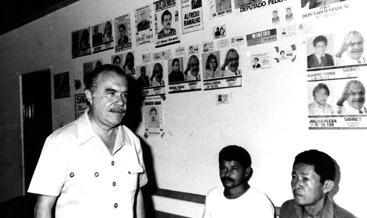 <strong> O ex-presidente José Sarney, </strong> candidato ao Senado pelo PMDB do Amapá, em comitê de campanha