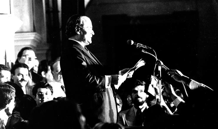"""<strong> O jurista Goffredo da Silva Telles</strong> faz a leitura da """"Carta aos Brasileiros"""" na Faculdade de Direito da USP, em São Paulo, em 8 de agosto de 1977"""