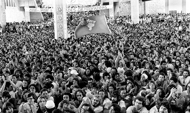 <strong> Participantes do 31º Congresso </strong> da UNE no Centro de Convenções de Salvador, em maio de 1979