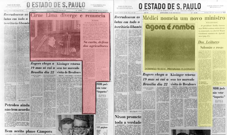<strong> Manchete censurada </strong> sobre sa&iacute;da de ministro (pag. &agrave; esq.) recebe outro enfoque e d&aacute; lugar a cartas de leitores, a primeira sobre rosas azuis, e a an&uacute;ncio (p&aacute;g. &agrave; dir.) em O Estado de S.Paulo de 10 de maio de 1973