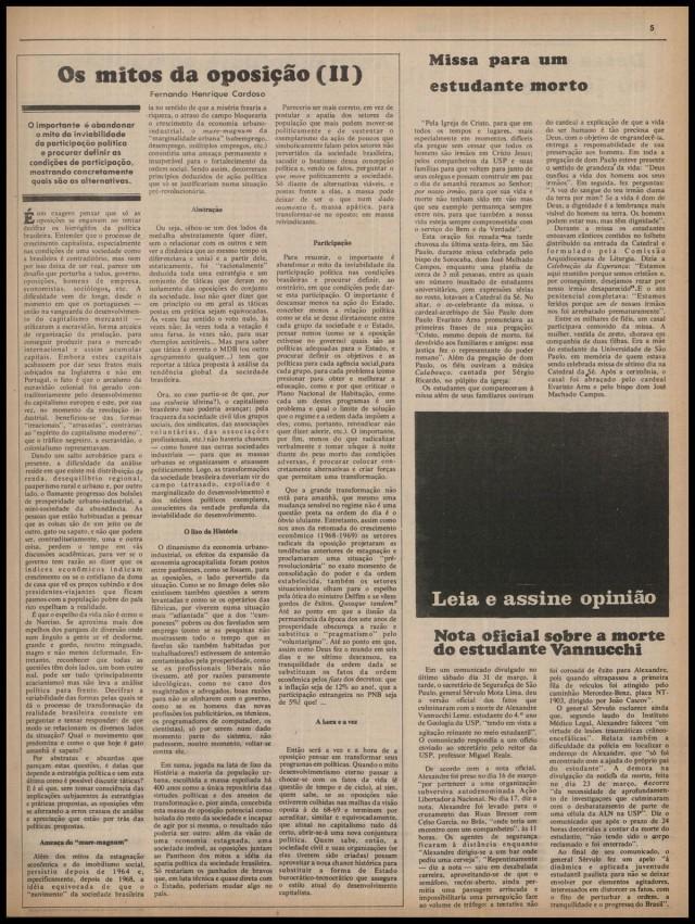 """Notícia censurada  sobre a morte de Alexandre Vannucchi na edição de 2 de abril de 1973 de """"Opinião"""""""