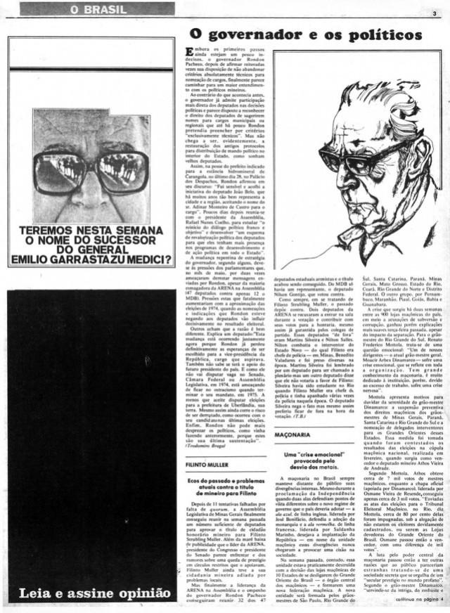 """""""Opinião""""  aplicou tarja preta em página para explicitar a censura de matéria sobre sucessão presidencial em junho de 1973"""