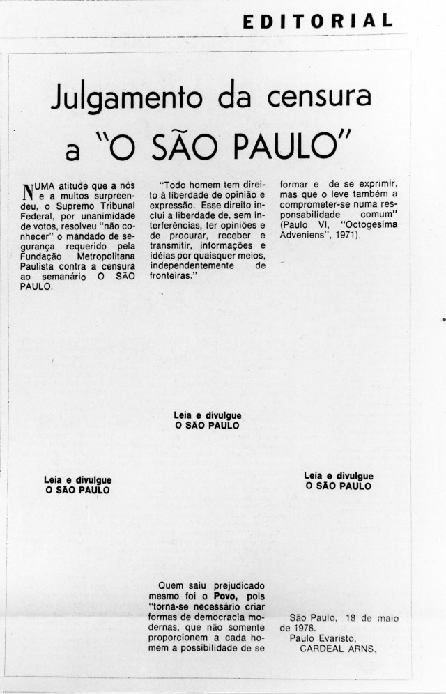"""Editorial de """"O São Paulo"""" contra a censura, assinadopor d. Paulo Evaristo Arns,traz trechos em branco, sinalizando vetos dos censores, em maio de 1974"""