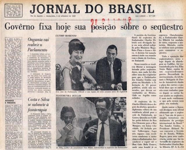 """Manchete do """"Jornal do Brasil"""" de 5 de setembro de 1969"""