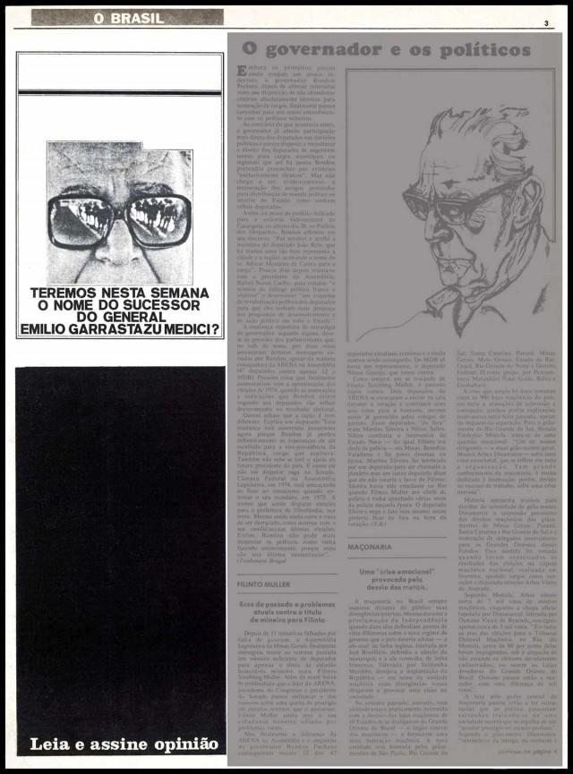 """Censurado, """"Opinião"""" usava tarjas pretas para evidenciar o controle governamental, como nesta edição de 21 de junho de 1973"""